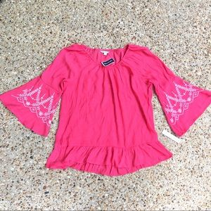 NWT Counterparts Boho Peasant Embroidered Blouse L